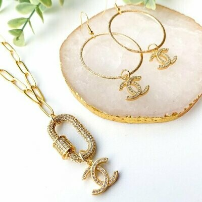 SJ Designer Earrings Pave Hoops CC