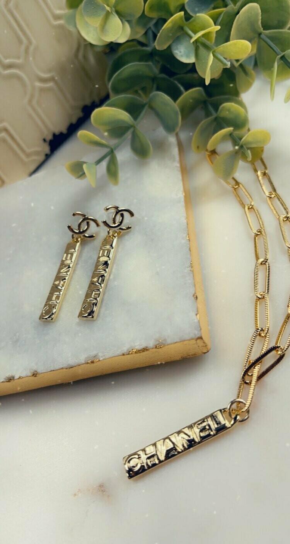 SJ Inspired Earrings Chanel Bar CC