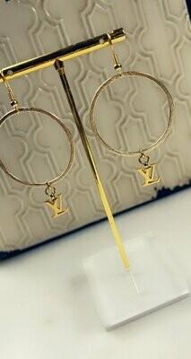 SJ Designer Earrings Logo Hoops LV