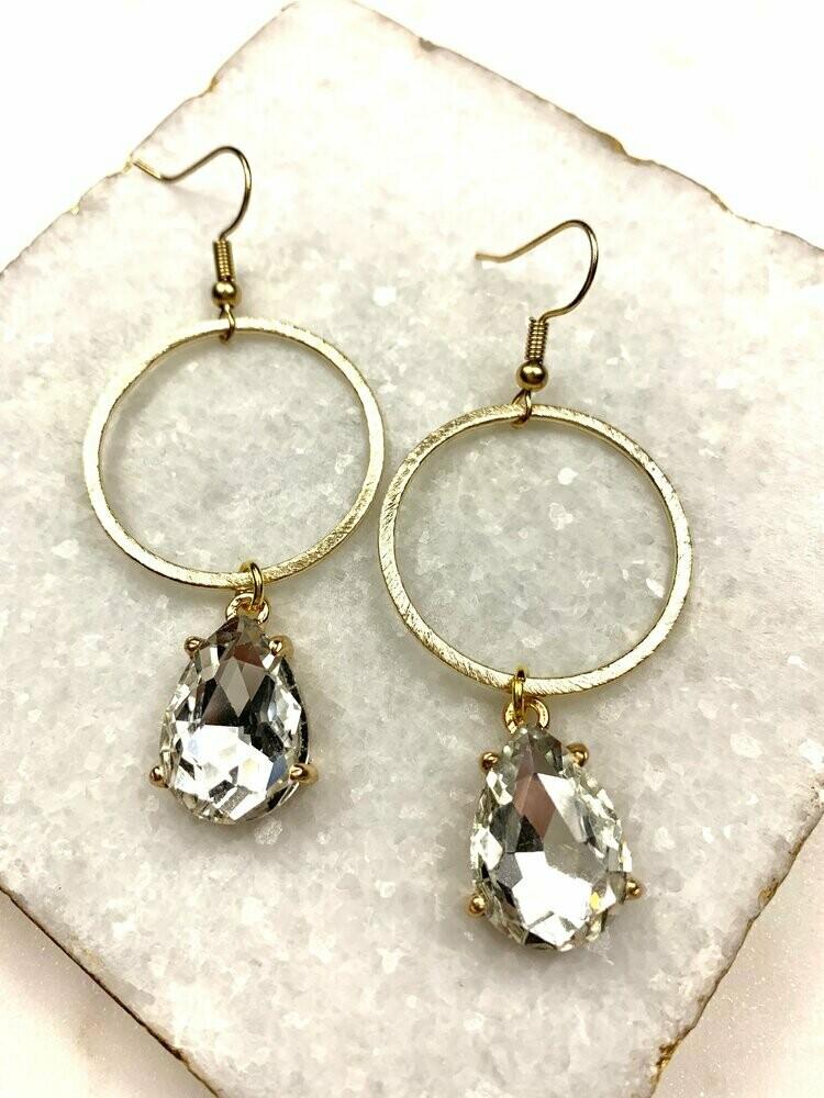 SJ Earrings Diamond Teardrop Hoop