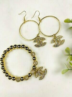 SJ Designer Earrings AB Pave Hoops CC