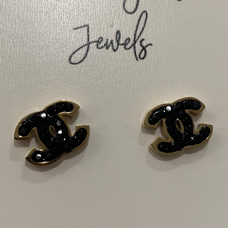 SJ Inspired Earrings Diamond Logo Black CC