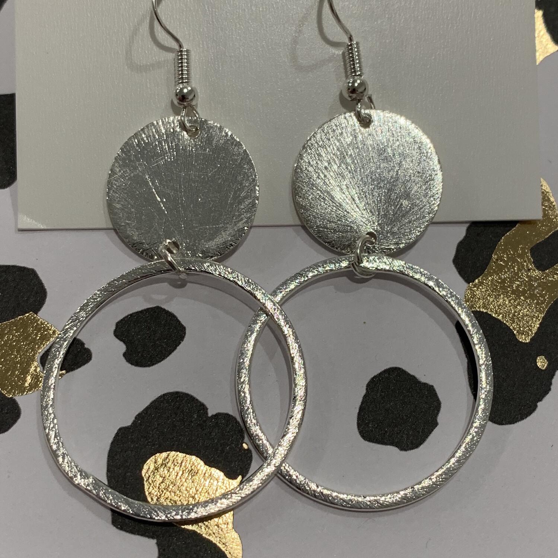 SJ Earrings Silver Circle Dangles