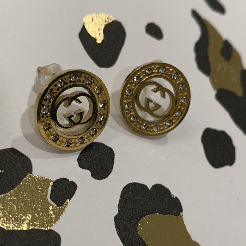 SJ Designer Earring Studs Circle Diamond GG