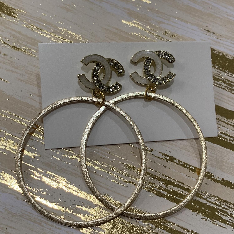 SJ Inspired Earrings Black Diamond Hoop CC