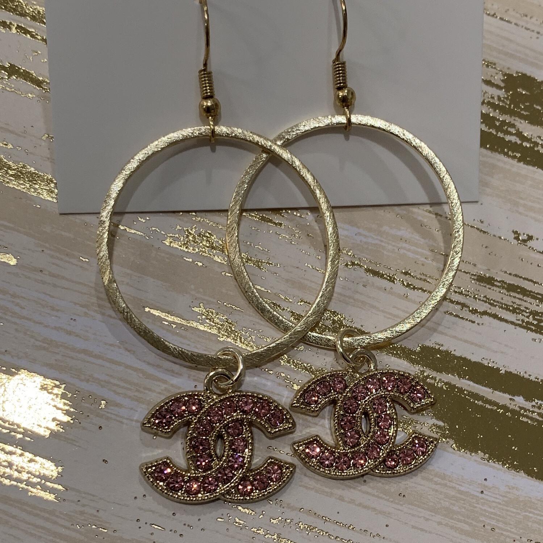 SJ Designer Earrings Pink Diamond Hoops