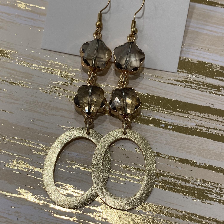 SJ Earrings Double Stone Oval