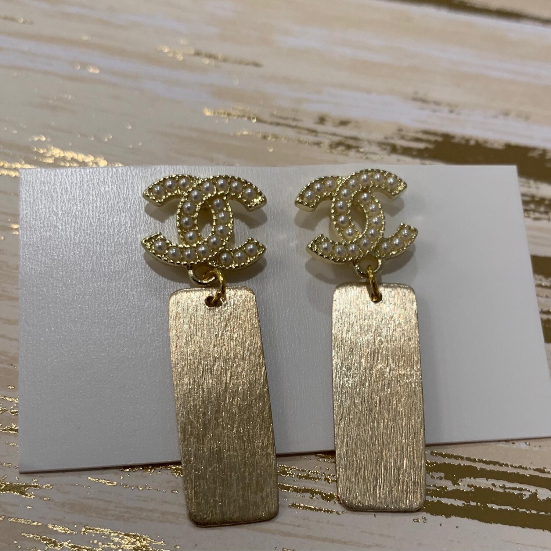 SJ Designer Earrings Pearl Rectangle CC