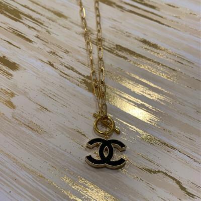 SJ Designer Necklace Clasp logo Black CC