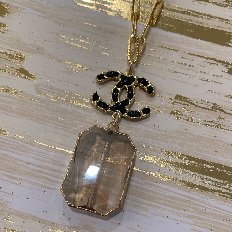 SJ Inspired Necklace Large Stone Black CC