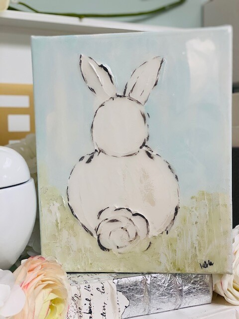 8x10 Bunny Painting Blue
