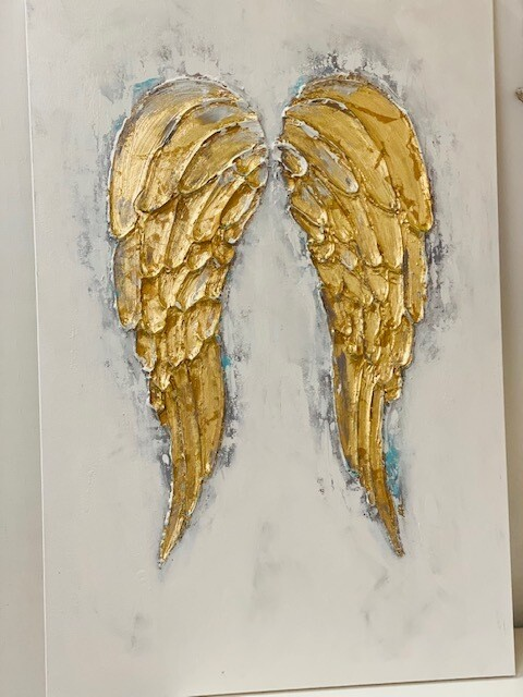 24x36 Angel Wings Painting Turquoise