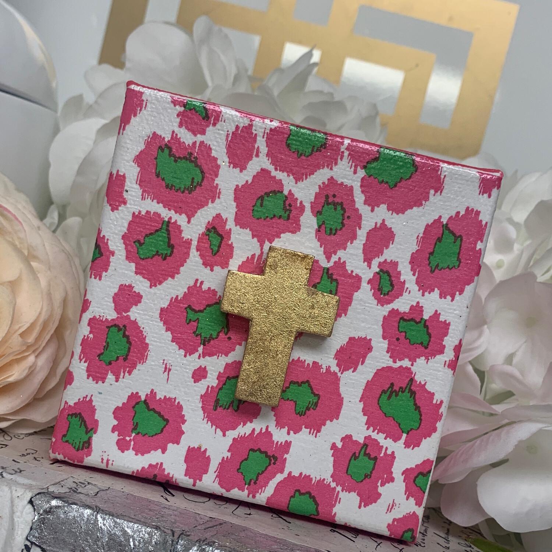 4x4 Pink Leopard Cross Canvas