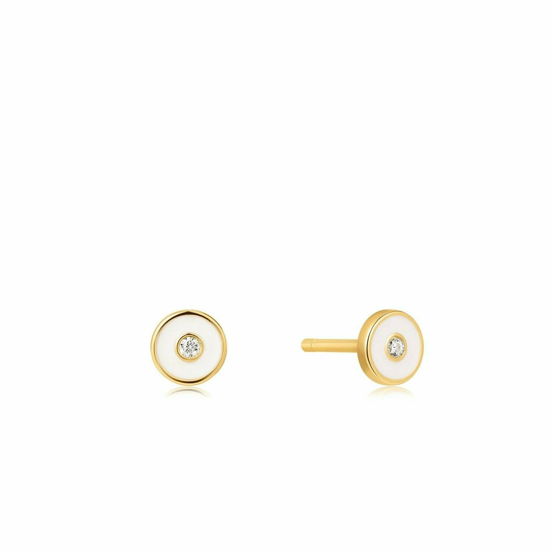 Ania Haie Optic White Stud Earrings Gold