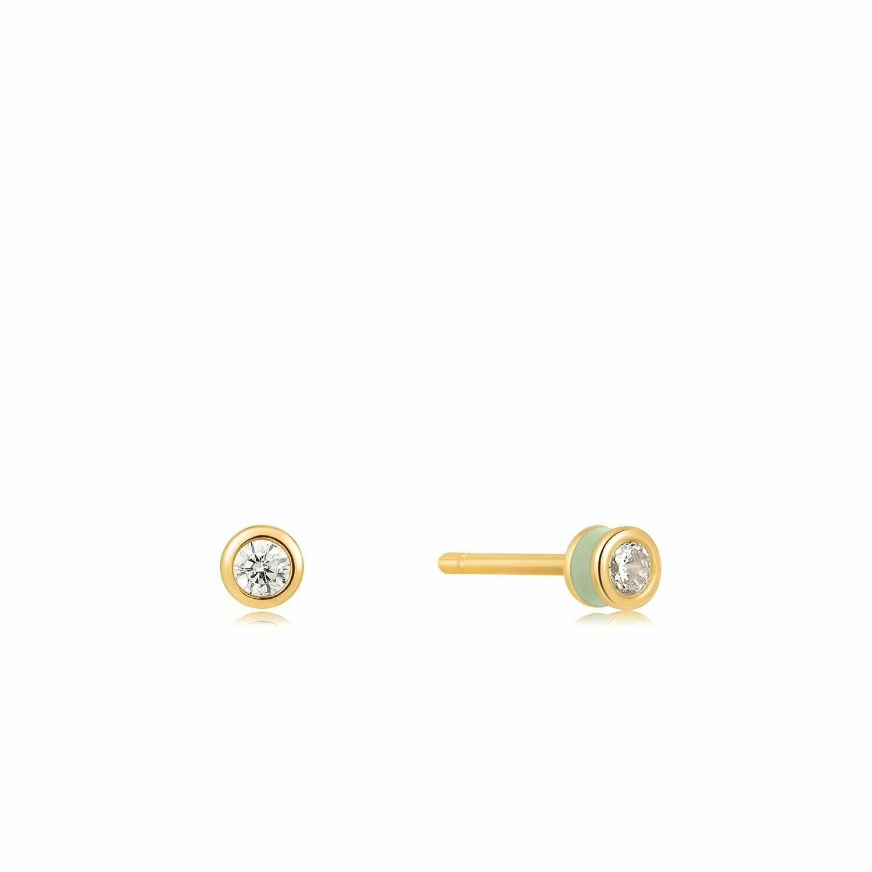 Ania Haie Sage Enamel Stud Earrings Gold
