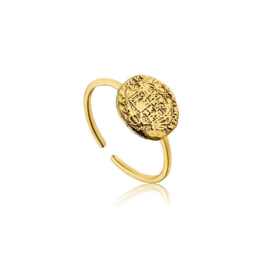 Ania Haie Emblem Adjustable Ring Gold