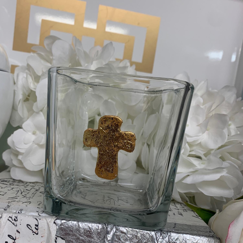 Short Square Vase Cross