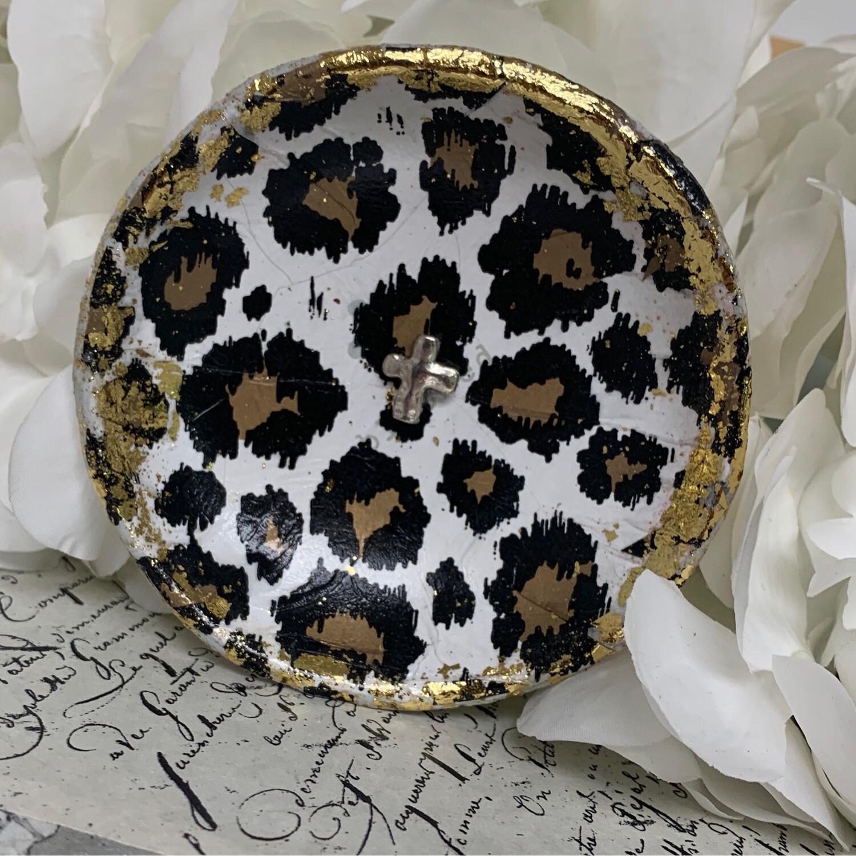 Trinket Dish Leopard W/silver Cross