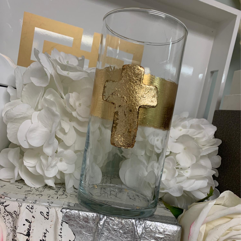 Gold Stripe Cross Vase Small
