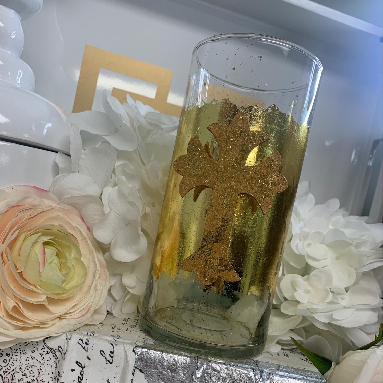 Gold Gild Vase Wood Cross