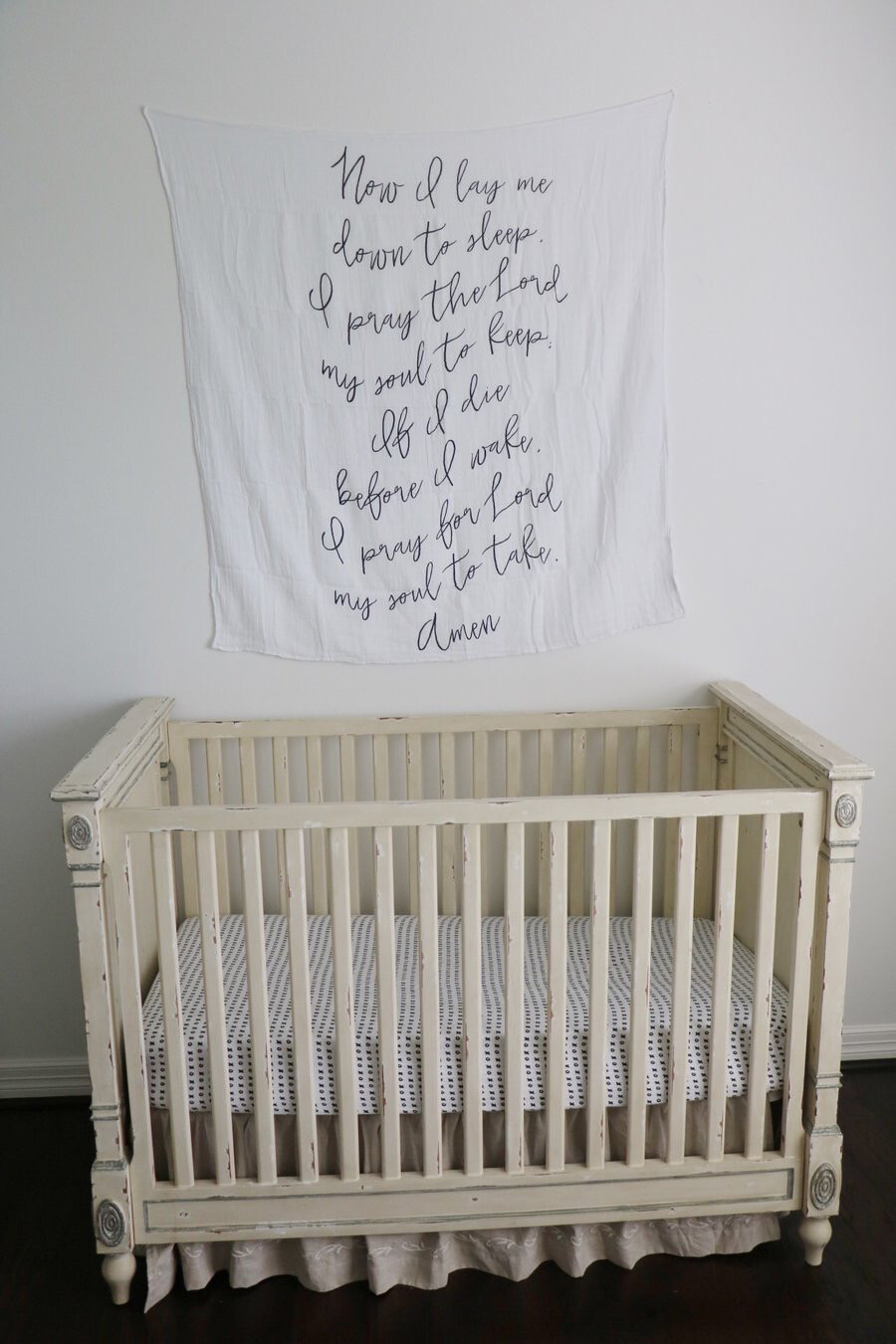 Organic Swaddle Blanket- Now I lay me prayer