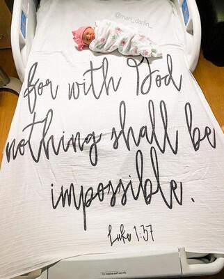 Organic Swaddle Blanket- Luke 1:37