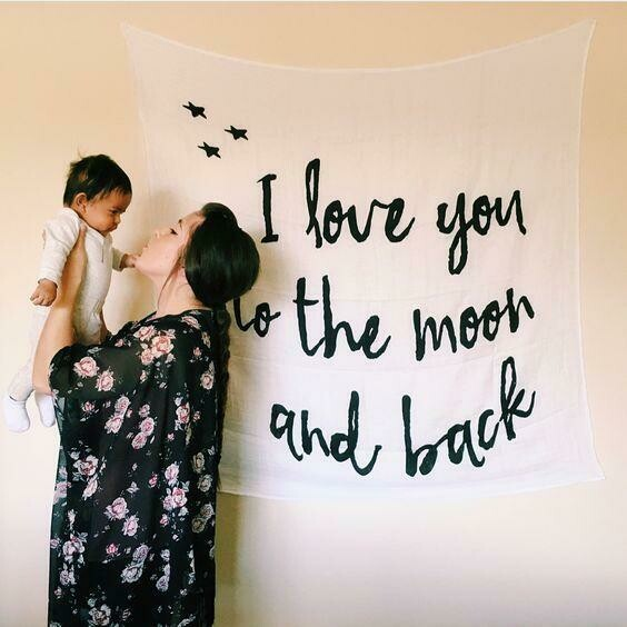 Organic Swaddle Blanket- I love you to the Moon and Back