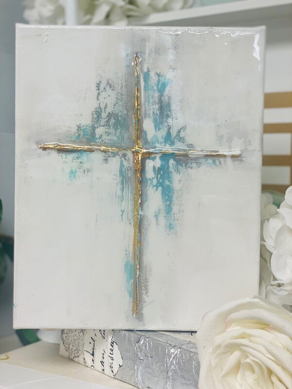 8x10 Cross Painting Turquoise