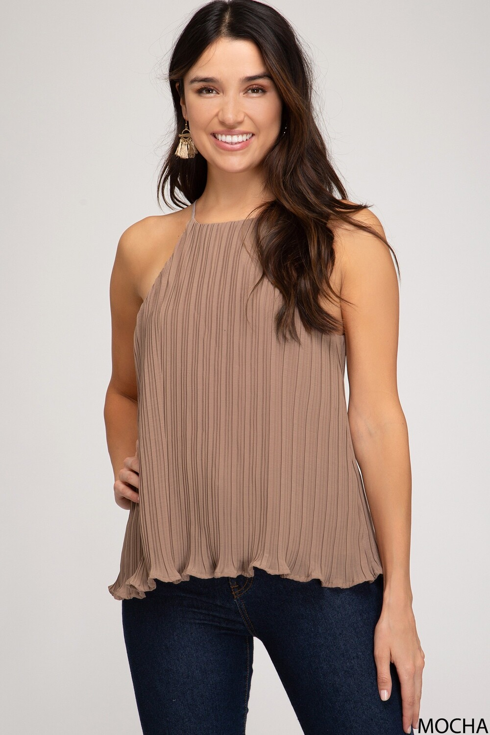 SS Lurex Pleated Lined Cami Top
