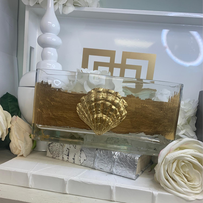 Gold Stripe Shell Vase Long