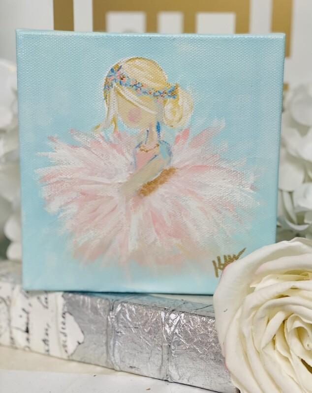 6x6 Recital Ballerina Painting Blonde Hair