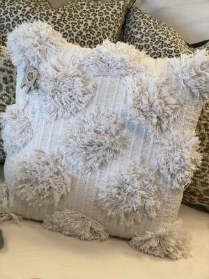"""18"""" White Textured Dot Pillow"""