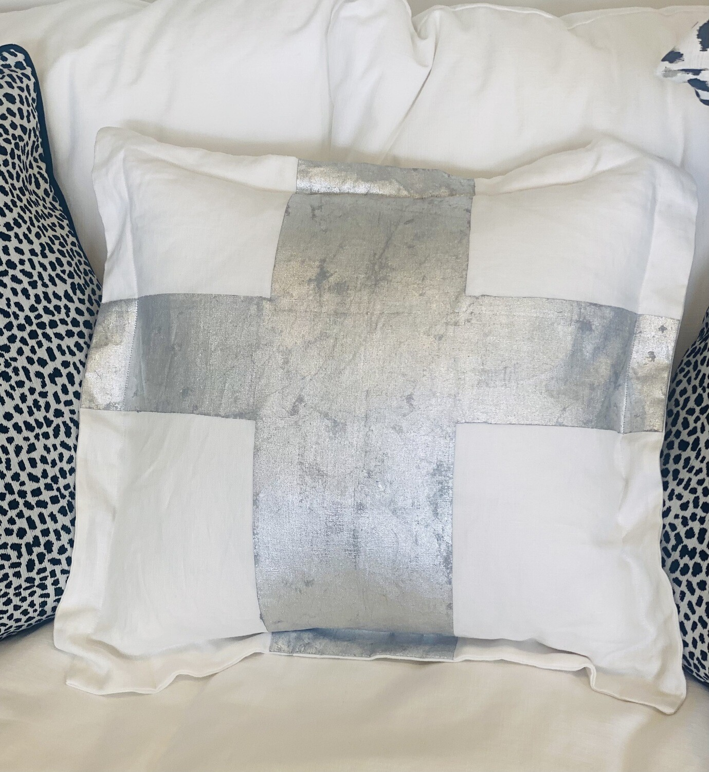 Hand Painted Pillow Silver Metallic