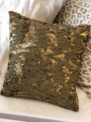 Gold Sequin Mini Throw Pillow