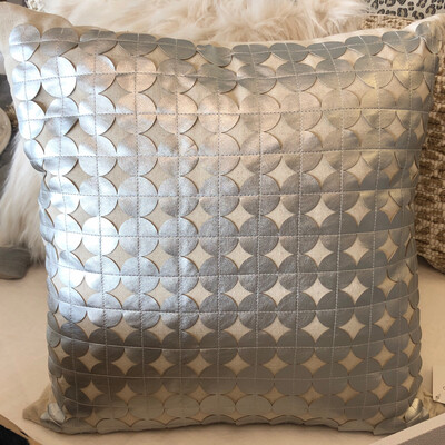 SS Silver Leather Circle Pillow