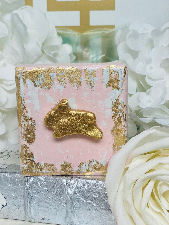 4x4 Wood Block Bunny Pink