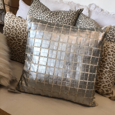 SS Silver Leather Square Pillow