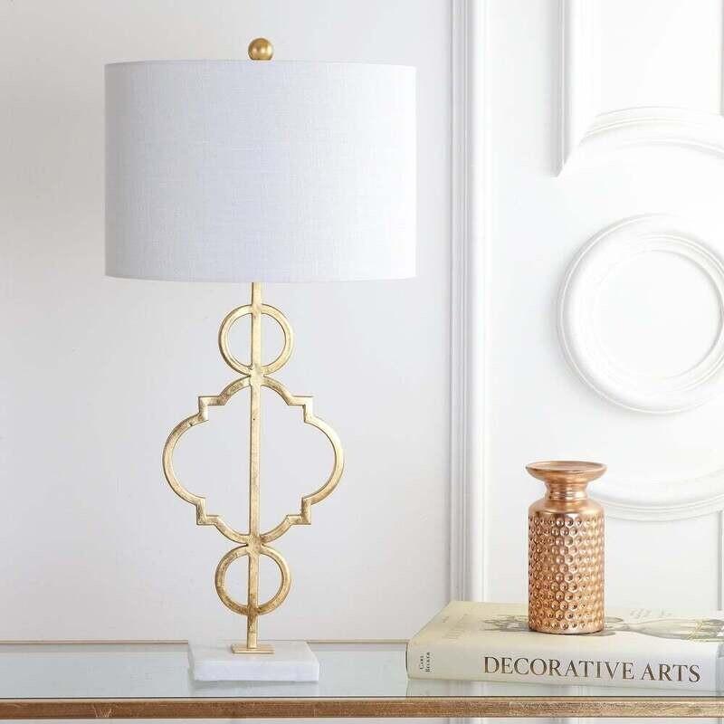JY Lamp Gold Quatrefoil Circles