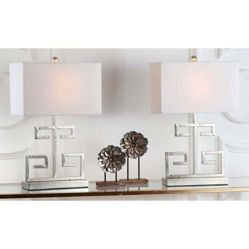 SA Lamp Silver Greek Key