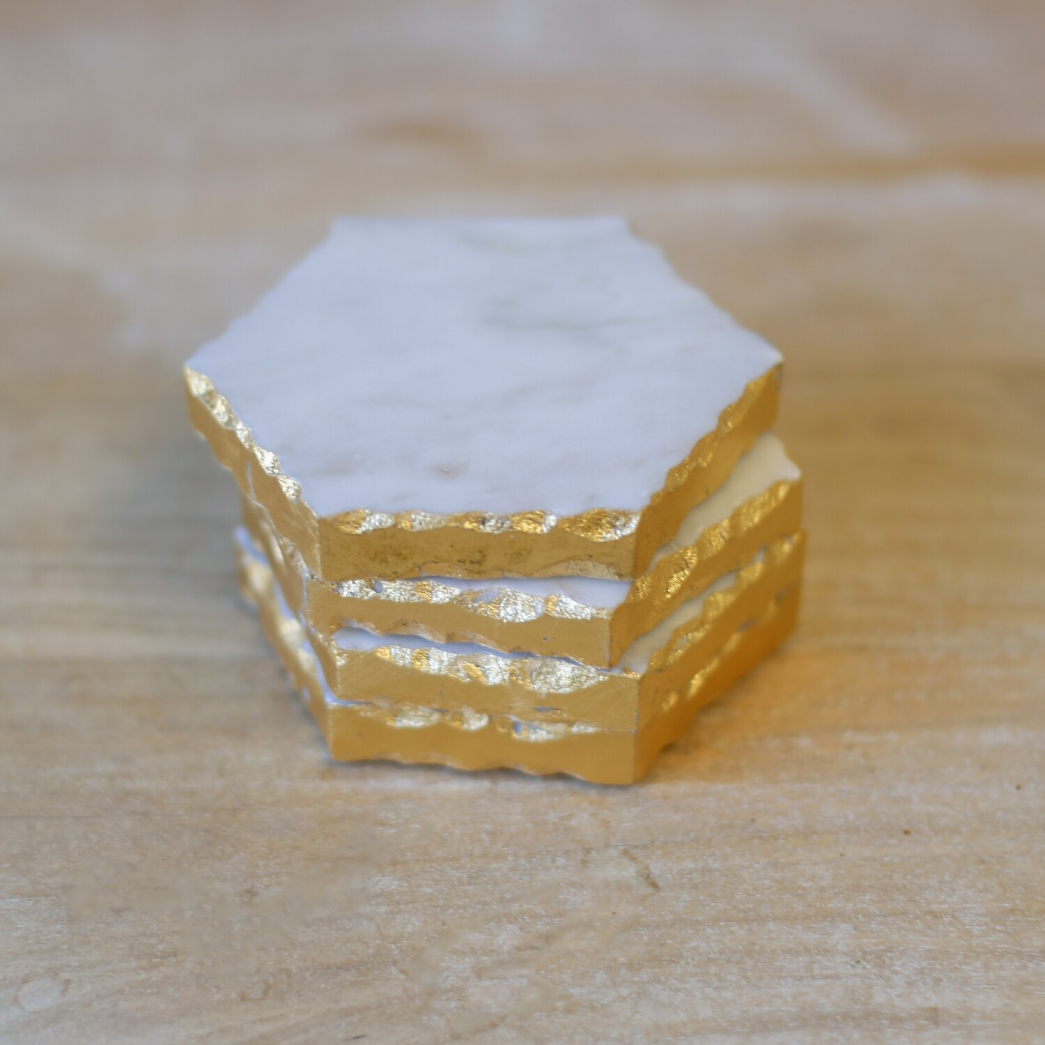 TRS Marble Coasters Vernazza White/Gold