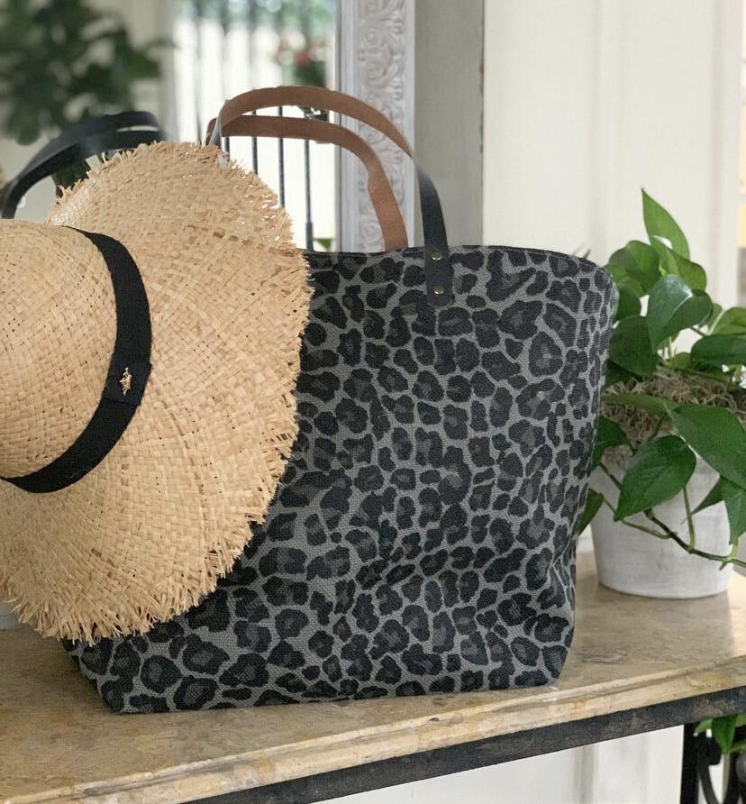 TRS Margo Leopard Tote Gray/Black
