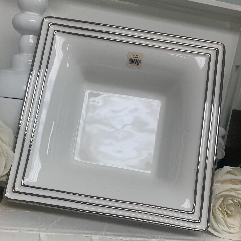 Silver Rim Square Bowl