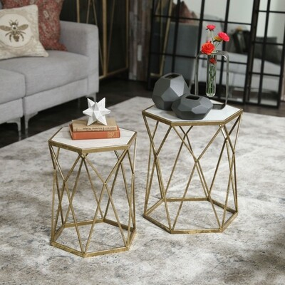 UT Hexagon Marble Top Table Small