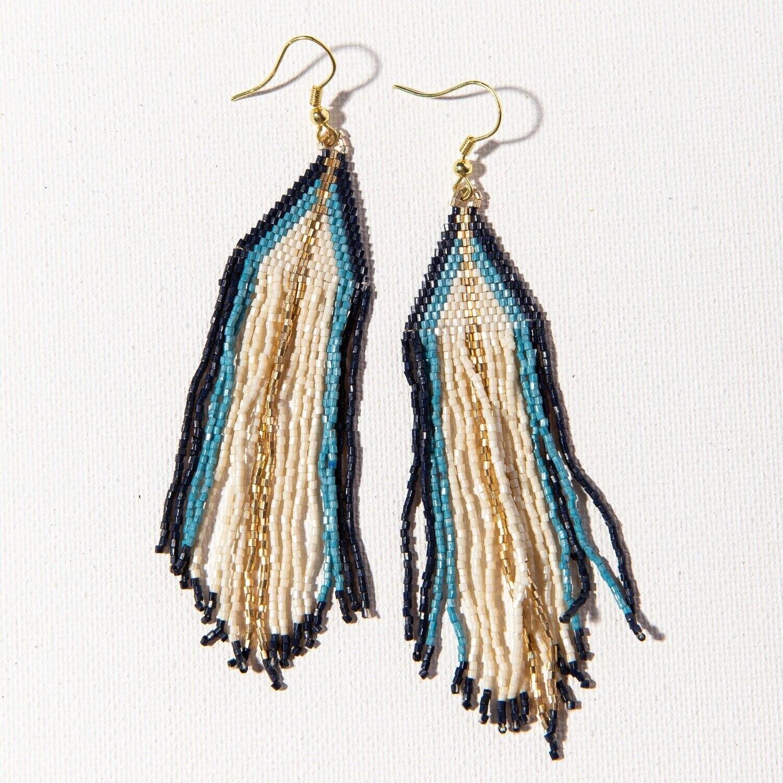 Ink & Alloy 811 Earring Ivory/Navy/Blue