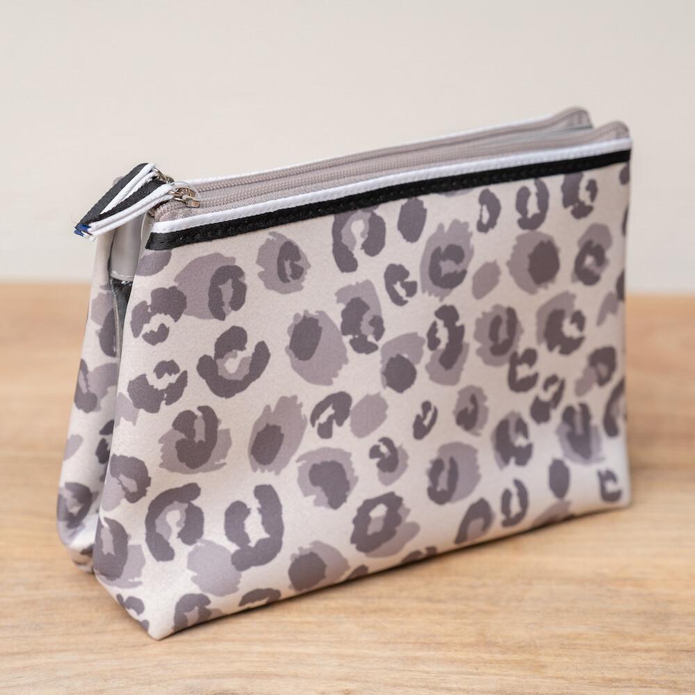 TRS Leopard Neoprene Double Cosmetic Bag