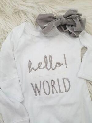 LB Gown Hello World Gray