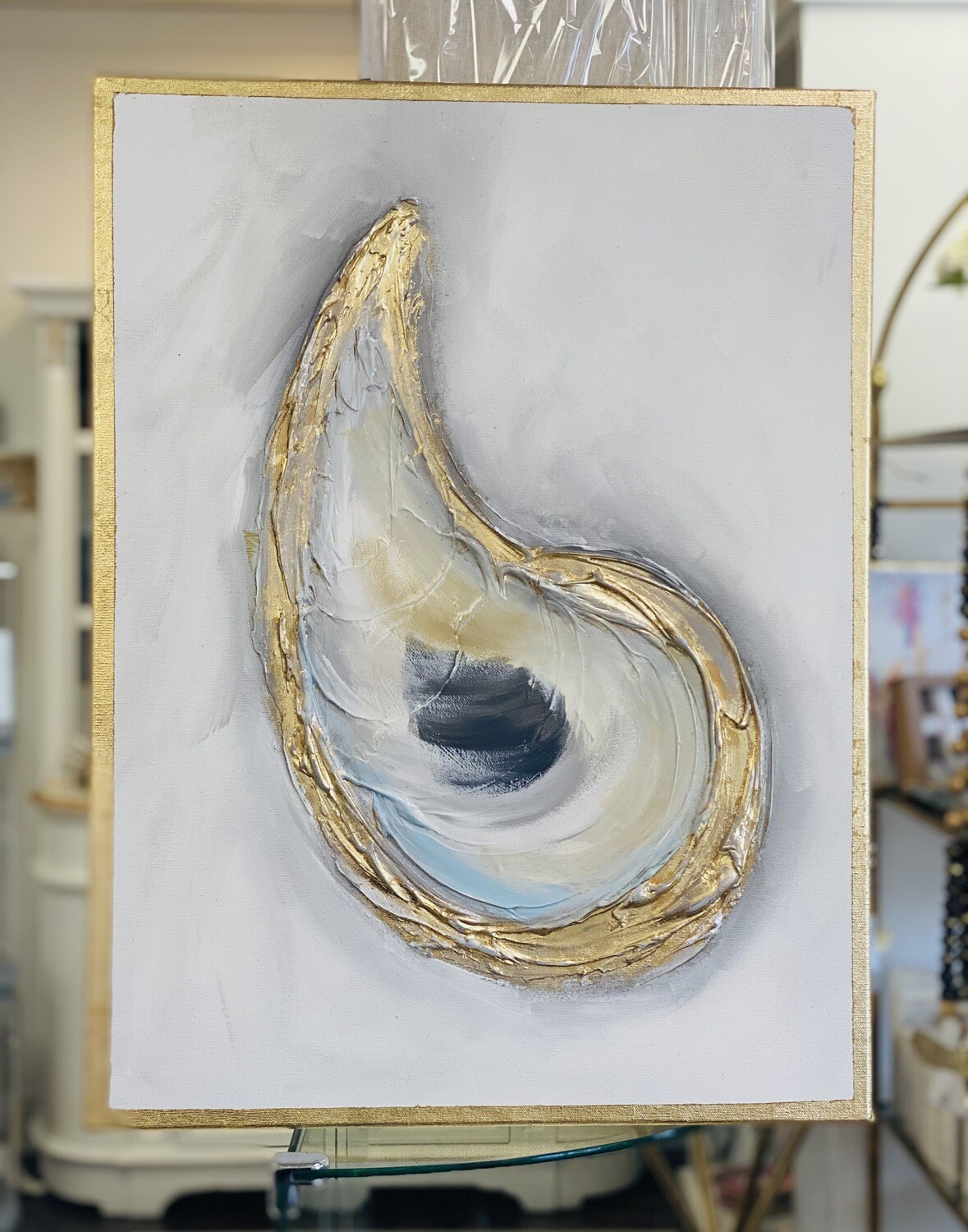 18x24 Oyster Painting Gold Trim 1