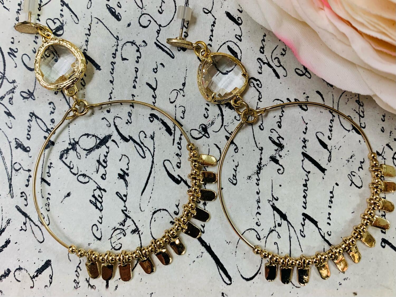 Love AO Earrings Clear Stone