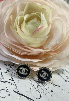 Designer Earrings Black Rope Studs