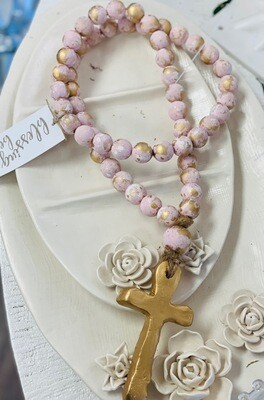 """SS Blessing Bead Long 24"""" Pink"""